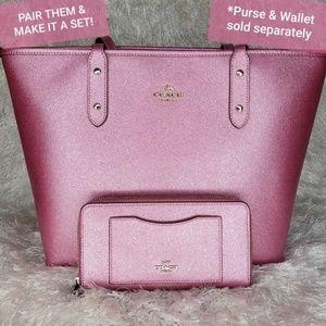 Coach Metallic Pink City Zip Tote Bag